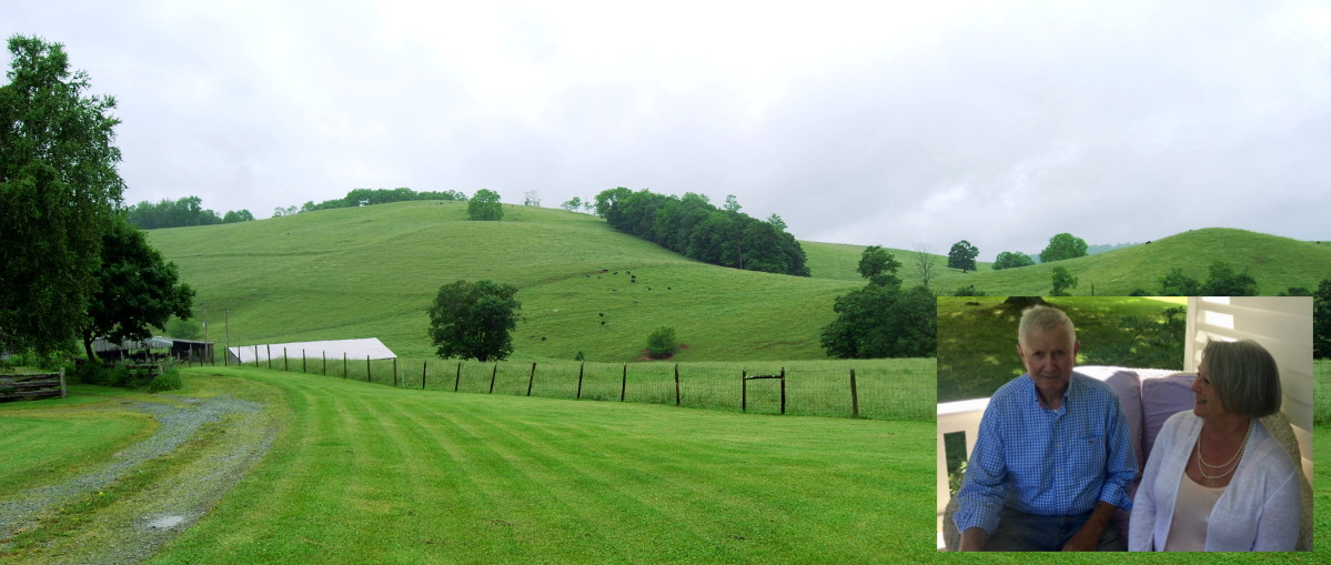 Pasture with inset of Gerhard and Rosemary Schoenthal