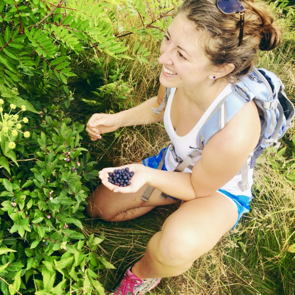 Kelli picking blueberries